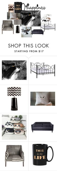 """Happiness"" by putterpaws ❤ liked on Polyvore featuring interior, interiors, interior design, home, home decor, interior decorating, Surya and Kate Spade"