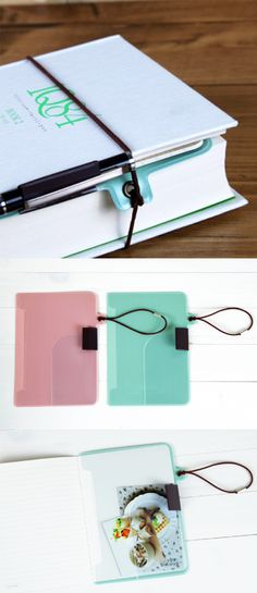 So smart! A bookmark, pen holder, pockets, and elastic book band in one!