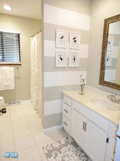 Neutral Bathroom -- horizontal striped wall