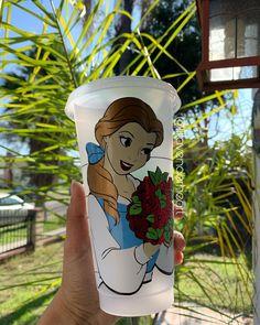 "@lillavenderheart on Instagram: ""Belle 💙 #disneystarbucks #starbucks #belle"" Starbucks Cup Art, Christmas Wishlist 2018, Disney Cups, Cute Water Bottles, Breaking Hair, Reusable Cup, Sippy Cups, Glitter Cups, Disney Stuff"