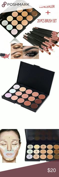 NWT 15 COLOR CONTOUR KIT 15 Colors Contour Face Cream Makeup Concealer Palette Professional  Plus 20 brushes 1 FREE sponge Sephora Makeup Brushes & Tools