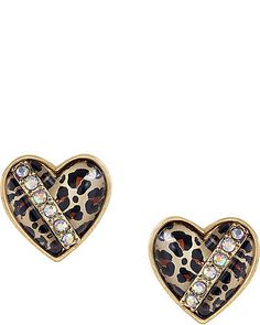LEOPARD HEART STUD EARRINGS these would be cute if they weren't 35 dollars