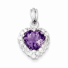 Solid 925 Sterling Silver Violet Purple February Simulated Birthstone Simulated Amethyst & Cubic Zirconia CZ Pendant (23mm x 14mm). Elegant Pendant Box Included. 925 Sterling Silver GUARANTEED, Authenticated with a 925 Stamp. FREE Standard Shipping in USA. Made with Highest Quality Craftsmanship. Hassle Free 30 Day Full 100% Refund Policy.
