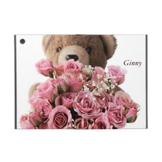bear roses iPad mini kickstand case #TeddyBearIpadCase, #roses, #CuteIpadCase, #GirlyIpadCase