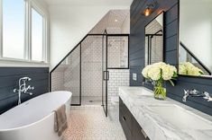 Bathroom Remodel Custom attic walk in shower with angled ceiling and white subway tile The Hawaiian Loft Bathroom, Family Bathroom, Large Bathrooms, Small Bathroom, Downstairs Bathroom, Bathroom Ideas, Master Bathroom, Rustic Bathrooms, Attic Master Suite