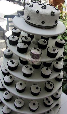 Fondant black & white cupcake tower