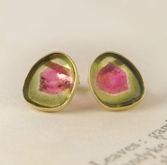 Watermelon Tourmaline Birthstone Gold Earrings - These 4.2 carat Brazilian Watermelon Tourmaline slices feature sublime olive green and pomegranate pink hues, and are encased in subtle 18k gold vermeil settings. #Embersjewellery #Jewellery #October #Birthstone #Tourmaline