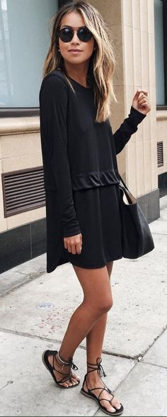 #sincerelyjules #spring #summer #besties |Long Sleeve Little Black Dress                                                                             Source