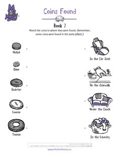 Coins Found Matching Game. Visit misformoney.ca for the full downloadable teaching guide. #misformoney