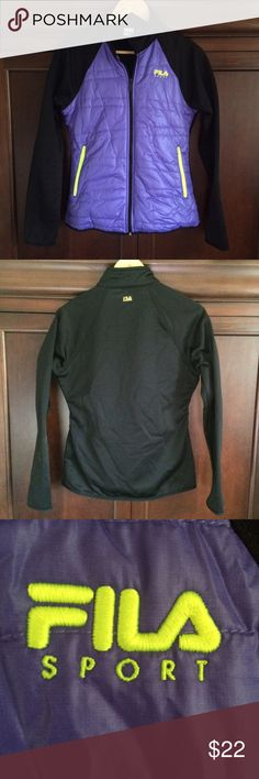 """Fila Sport Performance Full Zip Jacket Beautiful condition Warm and Comfy with fun Bright Fluorescent Yellow/Green emblem and zippers💕 No thumb holes, pretty purple and black size small it measures 18.5"""" across chest laying flat and  little under 24"""" long...bundle to save more plus ⚡️📦📫😁💕 Fila Jackets & Coats"""