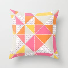 Girly Geometry Throw Pillow