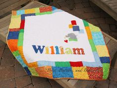 Buttons and Butterflies: Baby boy quilt with elephant applique