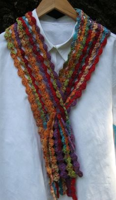 Colorful Crochet Cotton YoYo Scarf by NancyHuberCreations