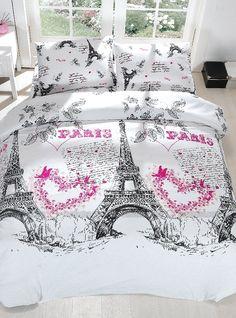 Amazon.com - 100% Cotton 4pcs Paris Hearts Double Size Duvet Cover Set Eiffel Theme Bedding Linens -