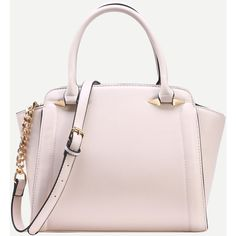 Ivory Faux Leather Trapeze Satchel Bag ($28) ❤ liked on Polyvore featuring bags, handbags, ivory, vegan handbags, pink satchel, pink satchel handbags, pink handbags and pink purse