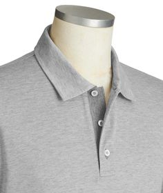 Canali - Cotton Pique Polo in Grey Size L Style #20057036 Paul Shark, Gingham Check, Merino Wool Sweater, Check Shirt, Taupe, Polo, Shirt Dress, Grey, Sweaters