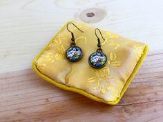 Wonder Woman dangly earrings; Gold Wonder Woman earrings; Strong woman earrings; glass domed Wonder Woman gold earrings; Comic book earrings by CraftingAwayTheFeels on Etsy