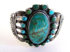 Authentic-Indian-Turquoise-Sterling-Silver-Cuff-Bracelet-SIGNED-IH-COIN-SILVER