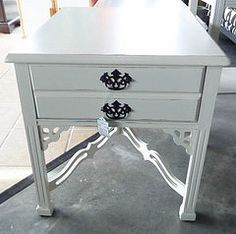 White Painted Shabby Chic Fretwork Side Table