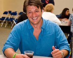 Nathan Fillion has the most adorable smile so cute Nathan Fillion Firefly, Nathan Fillon, Malcolm Reynolds, Richard Castle, Castle Tv Shows, Celebrities Then And Now, Good Smile, Perfect Man, Movie Stars
