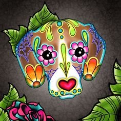 Day of the Dead Beagle Sugar Skull Dog Art Print by Pretty In Ink Jewelry