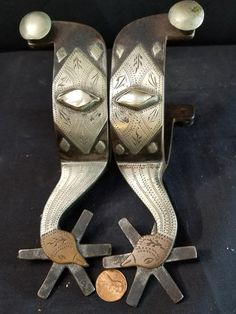 Used with no breaks or bends. Silver and copper mounted. These are part of a large collection Ill be listing. These were made by the deceased Comanche Texas spur maker Carl Hall. Spurs Western, Cowboy Spurs, Cowboy Gear, Comanche Texas, Blacksmithing Knives, Custom Cowboy Boots, Cowboy Pictures, Spur Straps, Silver Pearls
