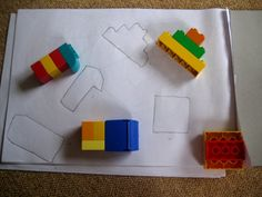 Day 19 - Shape Puzzlers . Build some shapes, draw round them and then match to the outlines. #LEGODUPLO    sooooo, there are so many great math ideas.  I think I need to make a mini book for my guests so they can keep learning and building at home.