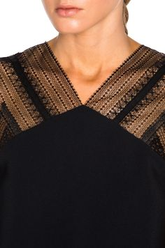 Image 6 of Roland Mouret Dave Double Crepe & Lace Top in Black