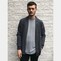 Alec Bizby, handmade kimono shape cardigan made from soft jacquard fabric sourced from a mill in Edmonton, just up the road from Alec's studio. London College Of Fashion, Kimono Cardigan, Jacquard Fabric, East London, Charcoal, Men Sweater, Cardigans, Blazers, Outfits