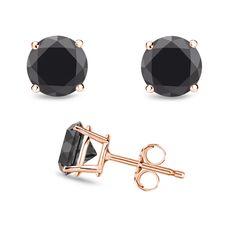 2.50 Ct Round Genuine Black Diamond Stud Earrings 14k Rose Gold #DiamondJewelersCompany #Stud