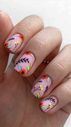 Funky Nails, Cute Nails, Pretty Nails, Nagellack Design, Nagellack Trends, Halloween Acrylic Nails, Best Acrylic Nails, Abstract Nail Art, Floral Nail Art