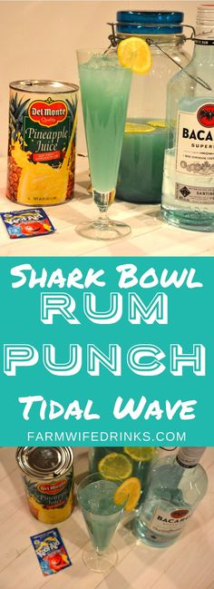 Rum Punch - Tidal Wave or Shark Bowl Punch - The Farmwife Drinks Well, this rum punch - tidal wave or shark bowl punch will bring back memories of sitting around a fishbowl filled with punch and 20 straws. Drinks With Bacardi Rum, Coconut Rum Drinks, Rum Mixed Drinks, Fruity Drinks With Rum, Spiked Punch Recipes, Party Punch Recipes, Party Drinks, Cocktail Drinks, Fun Drinks