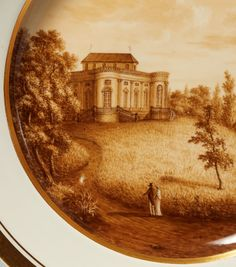 A pair of Fürstenberg porcelain plates with views of Lower Saxony Decorated to the wells with finely painted panoramas. Blue marks F and 1. D 23.4 and 23.6 cm. 1st quarter 19th C. The plates depict a panoramic views of Braunschweig (Brunswick) and Richmond Palace, which was built in the south of Brunswick by Carl Christoph Fleischer between 1768 and 1769 for Princess and later Duchess Augusta, wife of Karl Wilhelm Ferdinand.