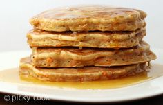 Carrot Cake Pancakes with Cinnamon Honey Butter