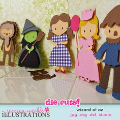 Wizard of Oz Cutting Machine Files!      This set comes with Dorothy, Good Witch, Bad Witch, Toto, Scarecrow, Tin Man and Cowardly Lion files that you use on your Silhouette SD or other digital cutting machine.      Included file types are: JPG, DXF, SVG and Silhouette Studio