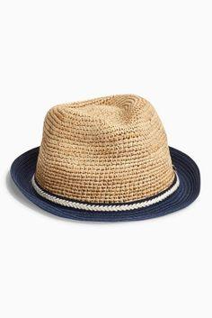 Natural Straw Trilby Hat (Older Boys) Code: 120-925