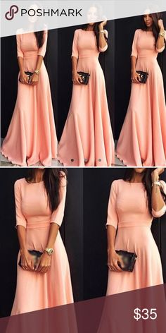 NWT Pink fit and flare maxi dress NWT. Floor length, empire waist, 3/4 sleeves. This dress is absolutely stunning!! Dresses Maxi