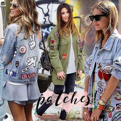 PATCHES 💕💣✌🏽️👾👄🍦😜💥🍬🙈🦄💎❣🍩 Os #patches chegaram para ficar, e estão para toda parte, aplicados em jaquetas, calças, bolsas...moda descontraída e divertida, quem ama? ... #patches#nastygal#denimjacket#chiaraferragni#tumblr#pinterest#inspo#sticker#parka#streetstyle#espiadefastfashion