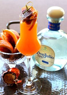 Blood Orange Mimosa, with the addition of tequila these drinks are fit for a party!