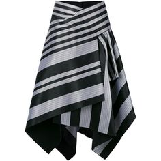 Proenza Schouler striped asymmetric skirt (€645) ❤ liked on Polyvore featuring skirts, black, evening skirts, circle skirts, striped skirts, stripe skirts and striped skater skirt