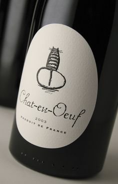 Chat-en-Oeuf. This is fantastically simple. Have to get this for my wine label collection. Well thought out and executed. 36th Mobius Awards Certificate for Outstanding Creativity. Wine & Spirit Design Awards 2007 Wine Design of the Year Trophy. Roses Design Awards Gold. New York Festivals World Finalist. IWSC 2007 Innovation in Presentation Trophy. The Drinks Business Awards 2007 Shortlisted. Fresh Awards Nomination