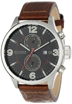 Tommy Hilfiger Men's 1790892 Casual Sport Brown Leather Multi-Eye Watch: Watches: Amazon.com