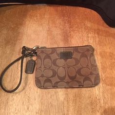 """Coach Wristlet 6""""across 4""""tall this one is dirty. Zipper works great. Coach Bags Clutches & Wristlets"""