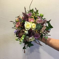 Beautiful bridal bouquet in shades of purple, mauve and cream full of texture with the addition of succulents, ivy, oak leaf and crocosmia berry. Wedding Flowers, Wedding Day, Crocosmia, Ivy Leaf, Shades Of Purple, Bridal Bouquets, Special Day, Mauve, Berry