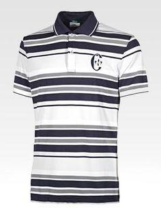 Striped cotton piqué polo shirt, Golf Fit model, code G4AA0N.5031A: http://store.conteofflorence.com/IT/product/G4AA0N-5031A-318 #golf #polo #stripe #cotton #pique #tourline