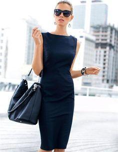 navy polyester work dress | skirttheceiling