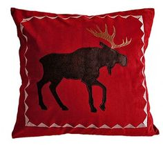 Red moose pillow (Cabin Place)