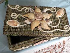 Sea shell decor basket by CarmelasCoastalCraft on Etsy, $38.00