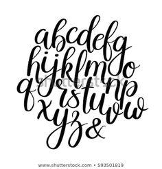 Similar Images, Stock Photos & Vectors of black and white hand lettering alphabet design, handwritten brush script modern calligraphy cursive font vector illustration - 1041101098 Modern Calligraphy Alphabet, Hand Lettering Alphabet, Calligraphy Fonts, Alphabet Fonts, Alphabet Writing, Writing Fonts, Hand Writing, Alphabet Images, Alphabet Design