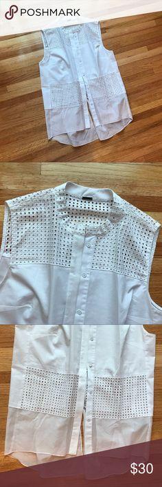 Elie Tahari blouse EUC Size medium. Button up. Excellent condition. Cotton/polyester/elastane blend. Tons of details! Elie Tahari Tops